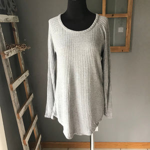 Chaser Gray Basket Weave Rayon Knit Tunic Top S